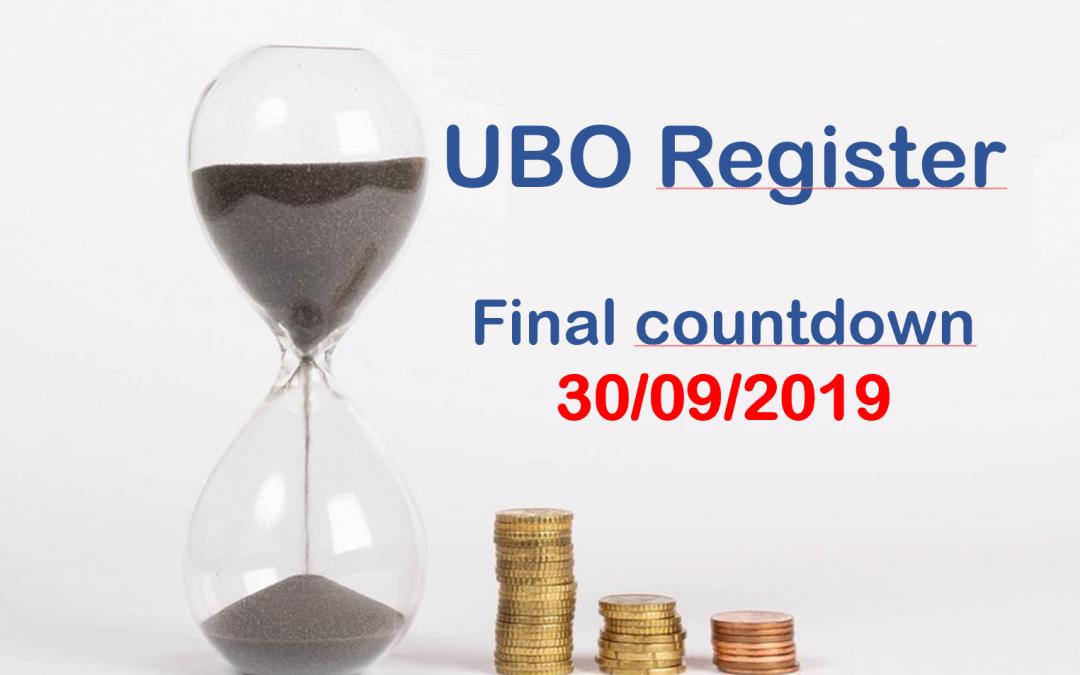 Enregistrement dans le registre UBO au plus tard le 30 septembre 2019